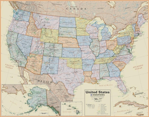 Buy map USA, Boardroom Laminated Wall Map by Round World Products, Inc.