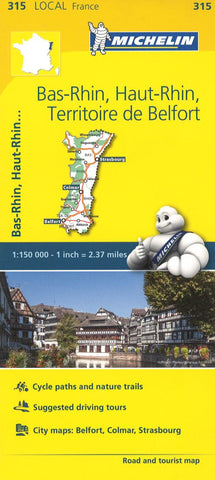Buy map Bas Rhin, Haut Rhin, France (315) by Michelin Maps and Guides