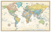 Buy map World, Classic Series Rolled Laminated Map, Beige by Rand McNally