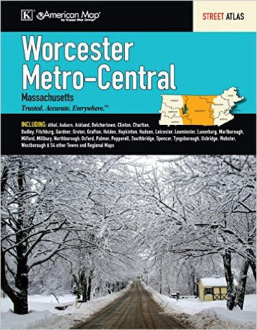 Buy map Worcester, Metro and Central Massachusetts by Kappa Map Group
