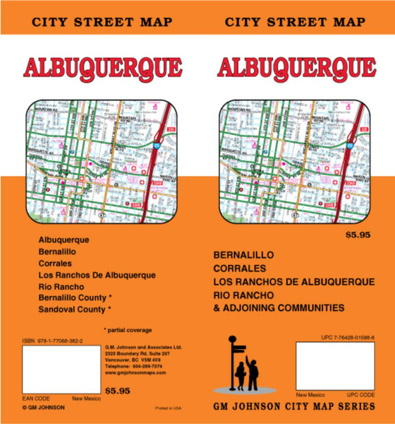 Buy map Albuquerque, Bernalillo, Corrales, Los Ranchos de Albuquerque and Rio Rancho, New Mexico by GM Johnson