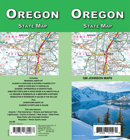 Buy map Oregon State Map by GM Johnson
