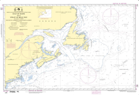 Buy map North Atlantic Ocean - Gulf Of Maine To Strait Of Belle Isle (NGA-109-5) by National Geospatial-Intelligence Agency