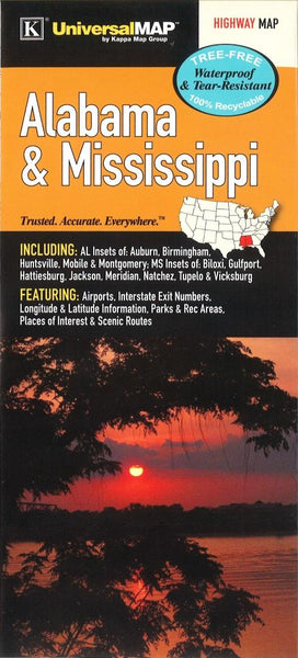 Buy map Alabama and Mississippi Waterproof Map by Kappa Map Group