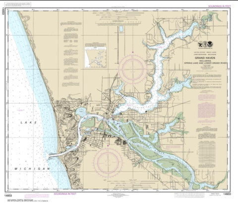 Buy map Grand Haven, including Spring Lake and Lower Grand River (14933-25) by NOAA