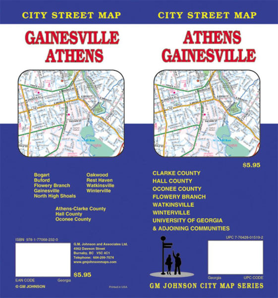 Buy map Athens and Gainesville, Georgia by GM Johnson