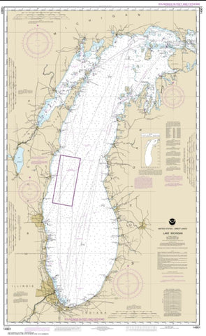 Buy map Lake Michigan (Mercator Projection) (14901-15) by NOAA