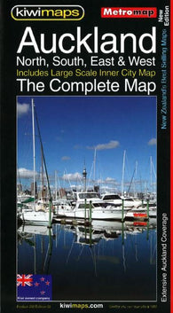 Buy map Auckland, New Zealand, Complete Metromap by Kiwi Maps