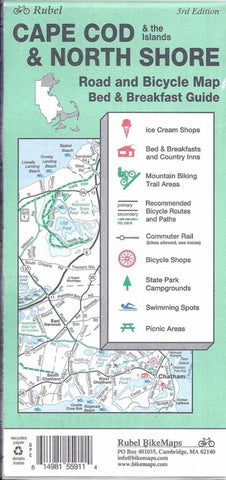 Buy map Cape Cod, The Islands and North Shore, Road and Bicycle Map by Rubel BikeMaps