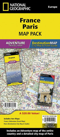 Buy map France & Paris Map Pack Bundle by National Geographic Maps