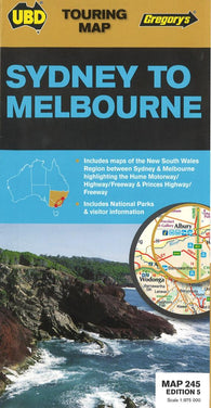 Buy map Sydney to Melbourne, Australia by Universal Publishers Pty Ltd