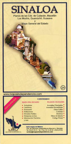 Buy map Sinaloa, Mexico, State and Major Cities Map by Ediciones Independencia