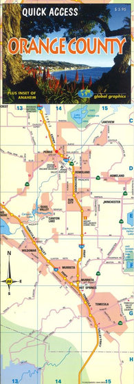 Buy map Orange County, California, Quick Access Map by Global Graphics
