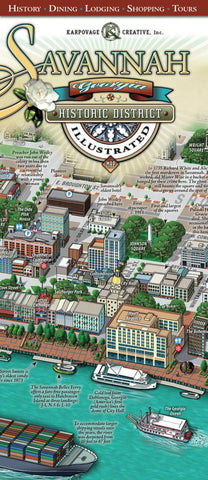 Buy map Savannah, Georgia, Historic District, illustrated by Karpovage Creative, Inc.