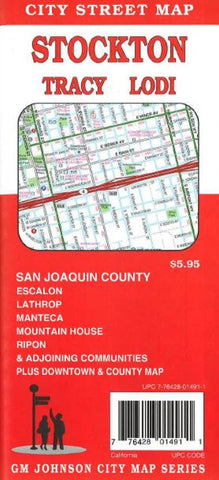 Buy map Stockton, Tracy and Lodi, California by GM Johnson