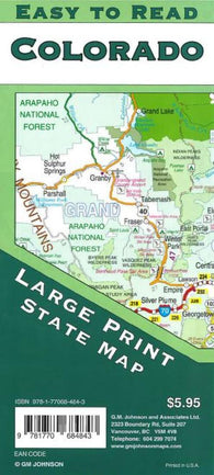 Buy map Colorado State, Large Print + Easy to Read by GM Johnson