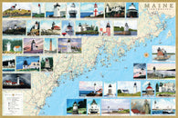 Buy map Maine Lighthouses Map - Laminated Poster by Bella Terra Publishing LLC