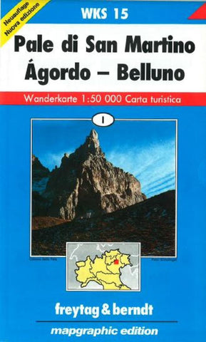 Buy map Pala di San Martino, Agordo, Belluno, Hiking Map WKS 15 by Freytag-Berndt und Artaria
