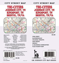 Buy map Tri-Cities Tennessee and Virginia-Johnson City, Kingsport and Bristol by GM Johnson