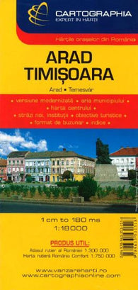 Buy map Arad Timisoara, Romania by Cartographia