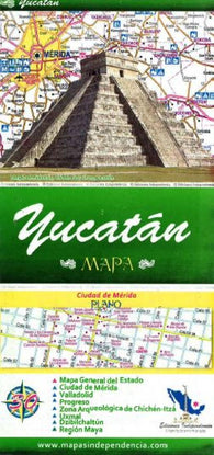 Buy map Yucatan, Mexico, State and Major Cities Map by Ediciones Independencia
