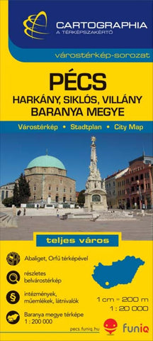 Buy map Pecs, Hungary by Cartographia
