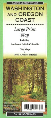 Buy map Washington and Oregon Coast, Large Print, Tourist Map by GM Johnson