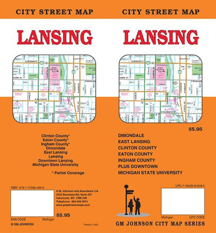 Buy map Lansing Michigan by GM Johnson YellowMaps Map Store