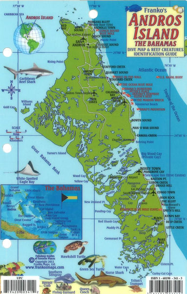 Buy map Bahamas Fish Card, Andros Island Fish Card by Frankos Maps Ltd.