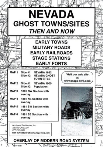 Buy map Nevada, Ghost Towns, 6-Map Set, Then and Now by Northwest Distributors
