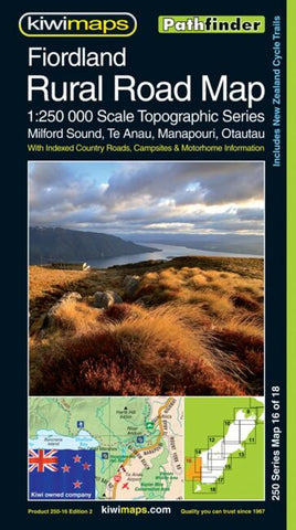 Buy map Fiordland Rural Roads, New Zealand, Topographic Map by Kiwi Maps
