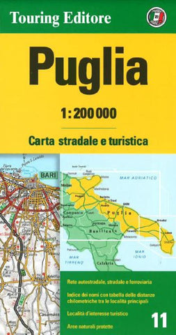 Buy map Puglia / Apulia, Italy by Touring Club Italiano