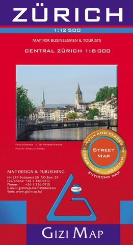 Buy map Zurich, Switzerland by GiziMap