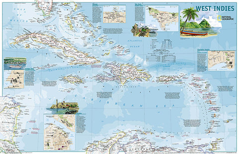 Buy map West Indies Travelers Map, 2 sided, Laminated by National Geographic Maps