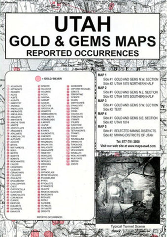 Buy map Utah, Gold and Gems, 5-Map Set, Then and Now by Northwest Distributors