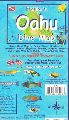 Buy map Oahu, Hawaii, Diving/Hiking/ Biking/Tourist by Frankos Maps Ltd.