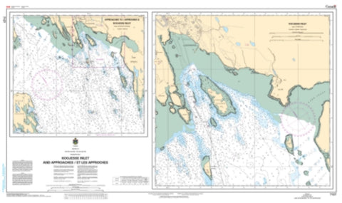 Buy map Approaches to/Approches a Koojesse Inlet by Canadian Hydrographic Service