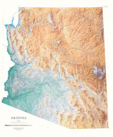 Buy map Arizona, Physical, Laminated Wall Map by Raven Maps