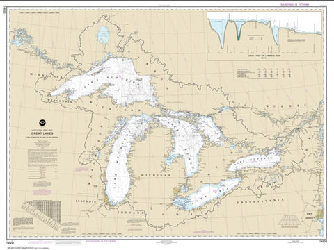 Buy map Great Lakes (14500-27) by NOAA