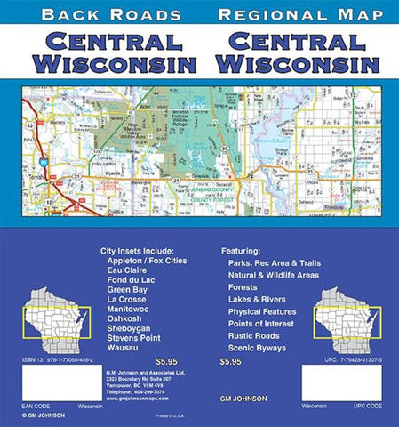 Buy map Wisconsin, Central, Regional/Back Roads by GM Johnson