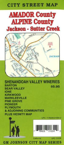 Buy map Amador and Apline County, California including Jackson and Sutter Creek by GM Johnson