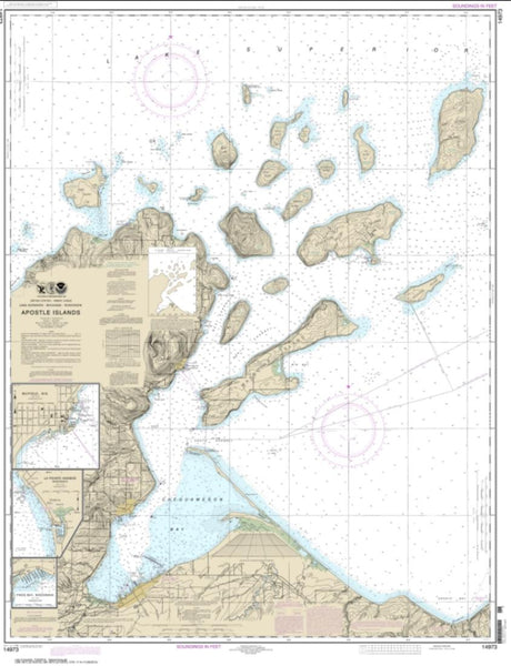 Buy map Apostle Islands, including Chequamegan Bay; Bayfield Harbor; Pikes Bay Harbor; La Pointe Harbor (14973-28) by NOAA