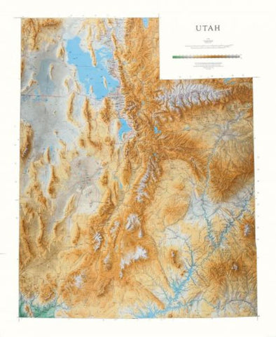 Buy map Utah, Physical, Laminated Wall Map by Raven Maps