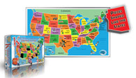 Buy map Kids Puzzle of the USA, 55 piece by Broader View