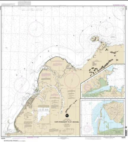 Buy map Cape Ramonzof to St. Michael; St. Michael Bay; Approaches to Cape Ramanzof (16240-10) by NOAA