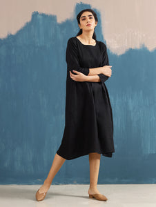 Serene Pintucked Dress in Black