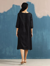 Load image into Gallery viewer, Serene Pintucked Dress in Black