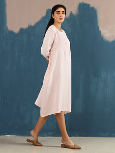 Serene Pintucked Dress in Blush