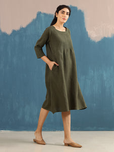 Serene Pintucked Dress in Olive