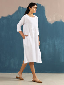 Serene Pintucked Dress in Ivory